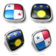 3d Panama and Guadeloupe flag button — Stock Photo