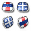 3d Netherlands Antilles and Martinique flag button — Stock Photo