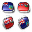 3d Montserrat and Bermuda flag button — Stock Photo