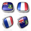 3d British Virgin Islands and Collectivity Saint Martin flag button — Stock Photo