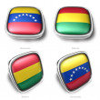 3d Venezuela and Bolivia flag button — Stock Photo