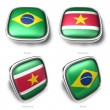 3d Brazil and Suriname flag button — 图库照片