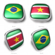 3d Brazil and Suriname flag button — Foto de Stock
