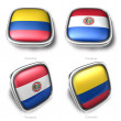 3d Colombia and Paraguay flag button — Stock Photo