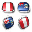 Stock Photo: 3d Peru and Falkl Islands flag button