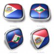 3d Sint Maarten and Sint Eustatius flag button — Stock Photo