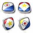 3d Bonaire and Saba flag button — Stock Photo