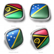 3d Vanuatu and Solomon Islands flag button — Stock Photo
