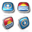 3d Northern Mariana Islands and Kiribati flag button — Stock Photo