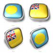 3d Palau and Niue flag button — Stock Photo