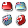 3d tonga and tuvalu flag button — Stock Photo