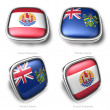 3d French Polynesia and Pitcairn Islands flag button — Stock Photo