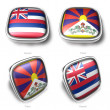 3d hawaii and tibet flag button — Stock Photo