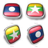 3d laos och burma flagga-knappen — Stockfoto