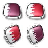 3d qatar and bahrain flag button — Stock Photo