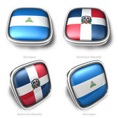 3d Nicaragua and Dominican Republic flag button — Stock Photo