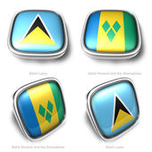 3d Saint Lucia and Vincent Grenadines flag button — Stock Photo