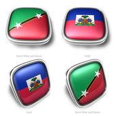 3d Saint Kitts and Nevis Haiti flag button — Stock Photo