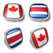 3d Canada and Costa Rica flag button — Stock Photo