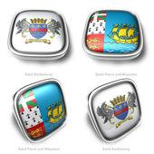 3d Saint Barthelemy and Saint Pierre Miquelon flag button — Stock Photo