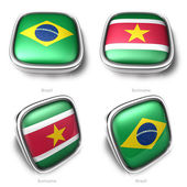 3d Brazil and Suriname flag button — Stock Photo