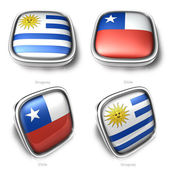 3d Uruguay and Chile flag button — Стоковое фото
