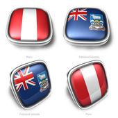 3d Peru and Falkl Islands flag button — Stock Photo