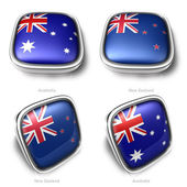 3d Australia and NewZealand flag button — Stock Photo