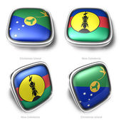 3d Christmas Island and New Caledonia flag button — Stock Photo