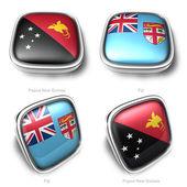 3d Papua New Guinea and Fiji flag button — Stock Photo