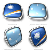3d Marshall Islands and Federated States of micronesia flag button — Stock Photo