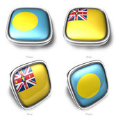 3d Palau and Niue flag button — Stock Photo