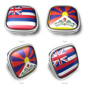 3d Hawaii and Tibet flag button — Stock Photo