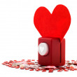 Stapler piercing the heart — Stock Photo