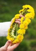 Wreath of dandelions — Stock Photo