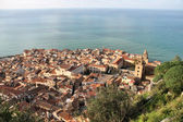 Cefalu, Sicily island in Italy. Aerial view of beautiful Mediterranean town. Province of Palermo. — Stock Photo