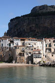 Cefalu, Sicily island in Italy. Sea view of beautiful Mediterranean town. Province of Palermo. — Stock Photo
