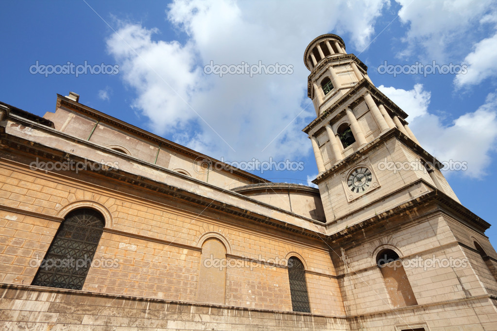 Rome, Italy. Papal Basilica of Saint Paul Outside the Walls. Ostiense district. Fisheye lens photo. — Stock Photo #4432136