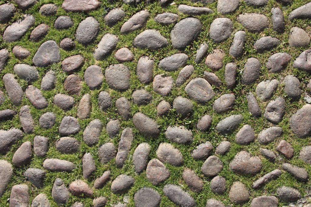 Rounded cobblestone background abstract. Grass between cobbles. Old street surface. — Stock Photo #4438289
