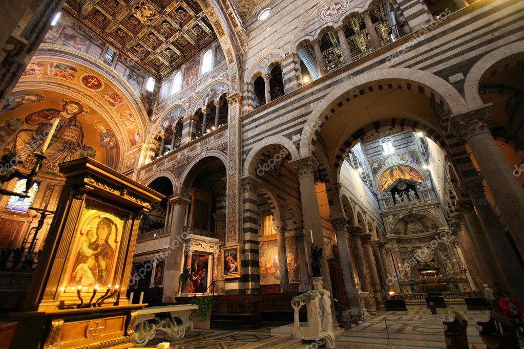 Pisa, Tuscany, Italy. Famous cathedral interior view. UNESCO World Heritage Site. — Stock Photo #4438899