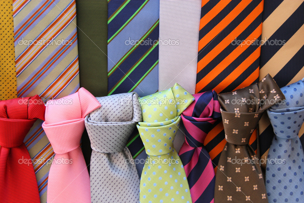 Colorful ties at a shop in Italy. Shopping for elegant dressing accessories. Clothes selection in a store. — Stock Photo #4451201