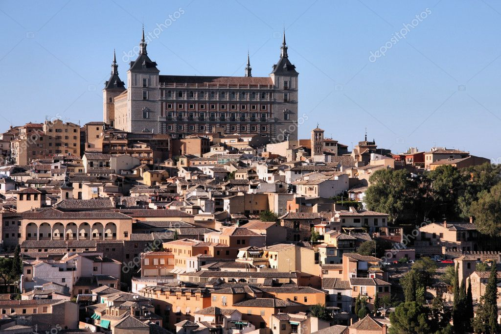 Cityscape of Toledo, Spain. Famous Alcazar building.  Stock Photo #4456881