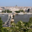 Danube, Chain Bridge and Budapest view — Stockfoto #4463983