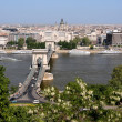 Danube, Chain Bridge and Budapest view — Foto Stock #4463983