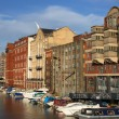 Bristol - boats and buildings seen from Redcliffe Bridge. United Kingdom. — Stock Photo #4464312
