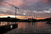 Harbor sunset in Bristol — Stok fotoğraf