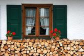 Yakacak odun ve pencere — Stok fotoğraf