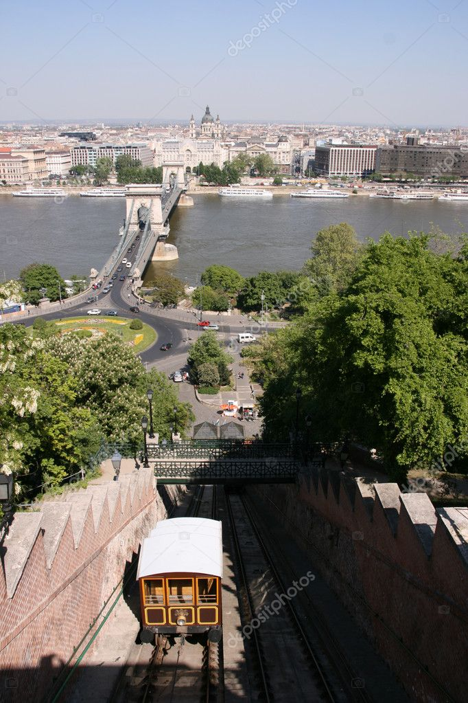 Beautiful view on Hungarian capital city, Budapest. Includes: Danube river, Chain Bridge (Szechenyi), St. Istvan basilica, ships and famous funicular cable rail — Stock Photo #4463949
