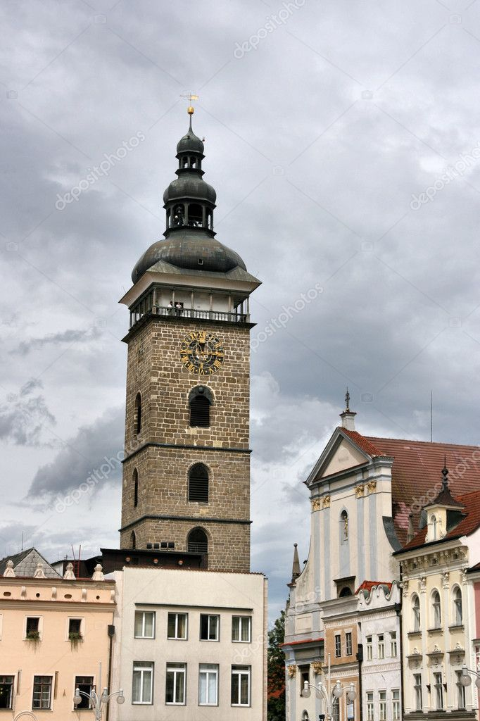 Famous Black Tower of Ceske Budejovice town in Czech Republic — Stock Photo #4469507