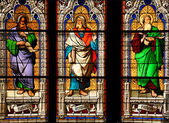 Cologne cathedral stained glass art depicting saints: Isaias, Ieremias, Ezechiel — Stock Photo